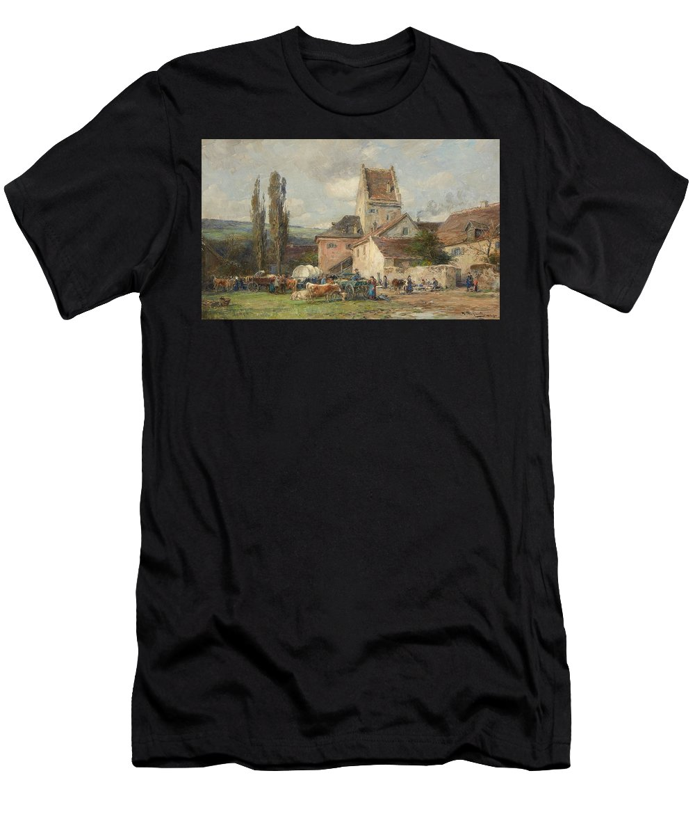 Karl Stuhlm�ller Men's T-Shirt (Athletic Fit) featuring the painting A Market Scene by MotionAge Designs