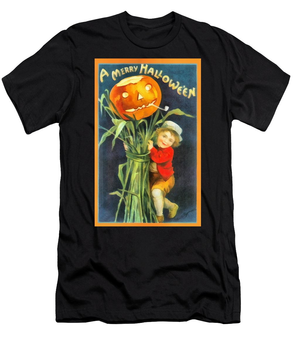 Unknown Men's T-Shirt (Athletic Fit) featuring the photograph A Merry Halloween by Unknown