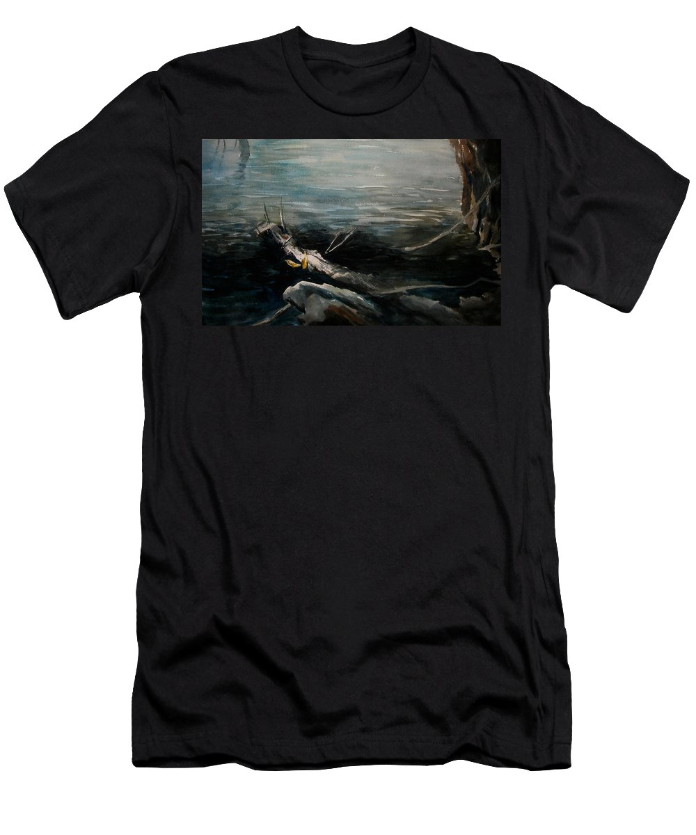 Landscape Men's T-Shirt (Athletic Fit) featuring the painting A Moment In Time by Rachel Christine Nowicki