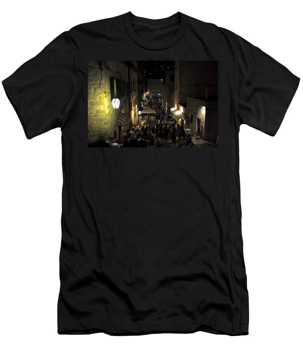 Dubrovnik Men's T-Shirt (Athletic Fit) featuring the photograph A Night In Dubrovnik by Piotr Kuzniar