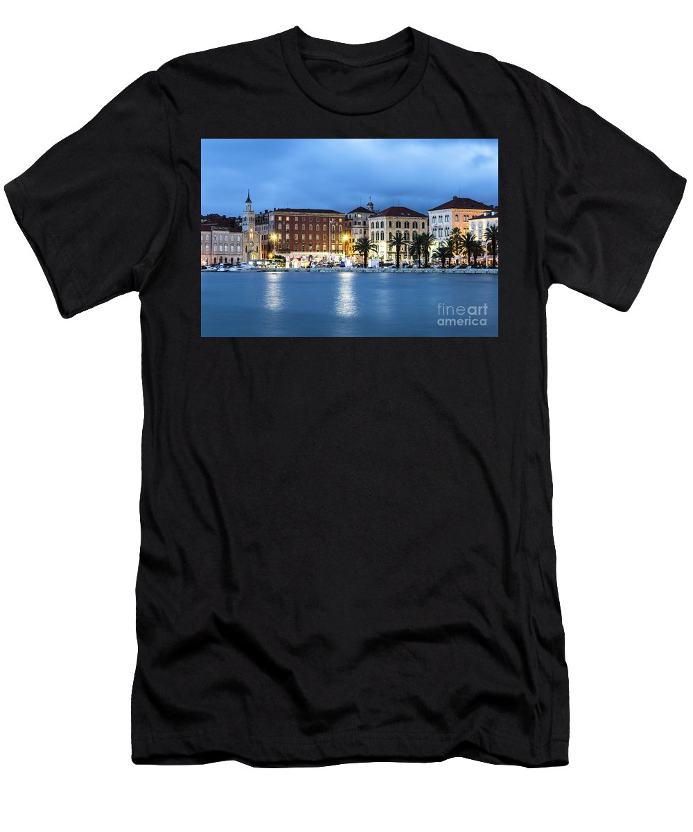 Balkans Men's T-Shirt (Athletic Fit) featuring the photograph A Night View Of Split Old Town Waterfront In Croatia by Didier Marti