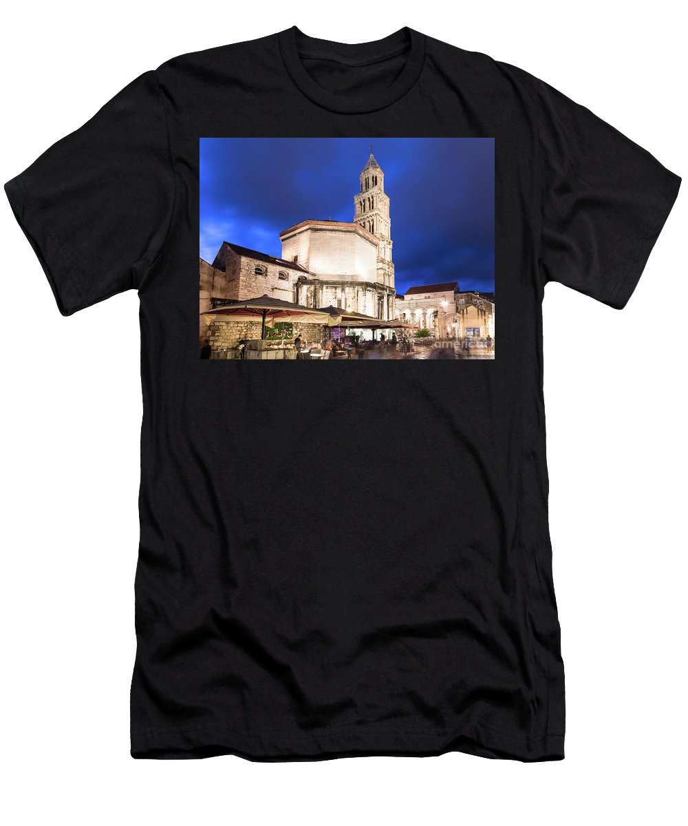 Balkans Men's T-Shirt (Athletic Fit) featuring the photograph A Night View Of The Cathedral Of Saint Domnius In Split by Didier Marti