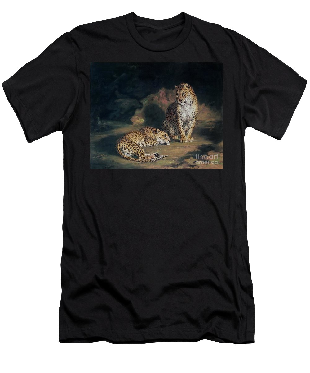 Pair Men's T-Shirt (Athletic Fit) featuring the painting A Pair Of Leopards by William Huggins