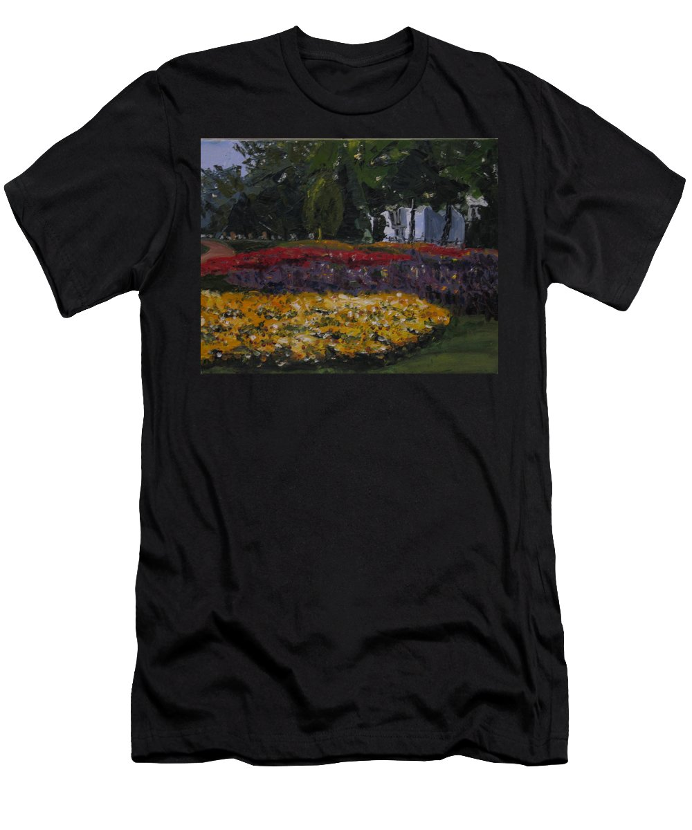 Landscape Men's T-Shirt (Athletic Fit) featuring the painting A Park In Cambrige by Piety Choi