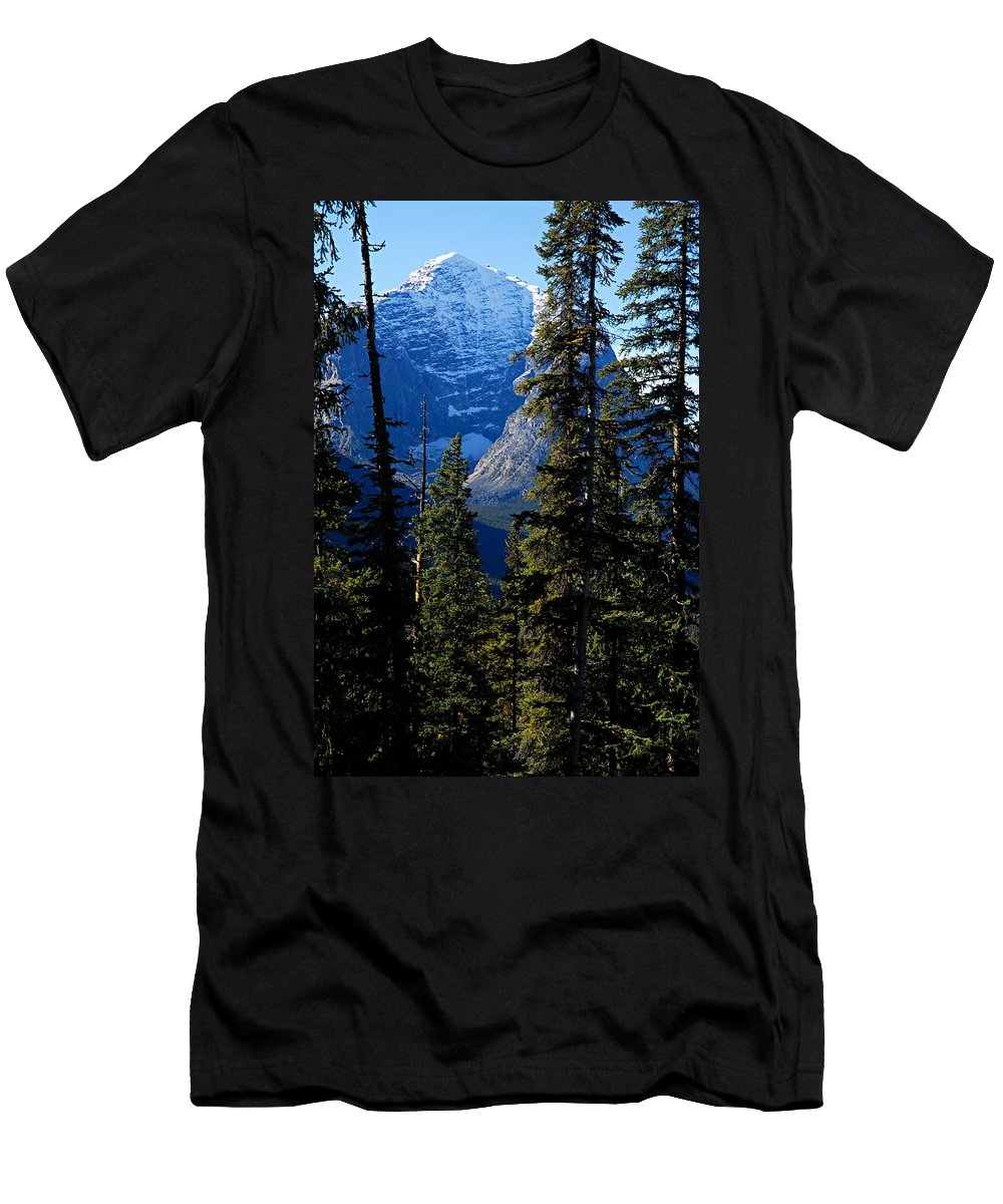 Jasper National Park Men's T-Shirt (Athletic Fit) featuring the photograph A Peek At The Peak by Larry Ricker