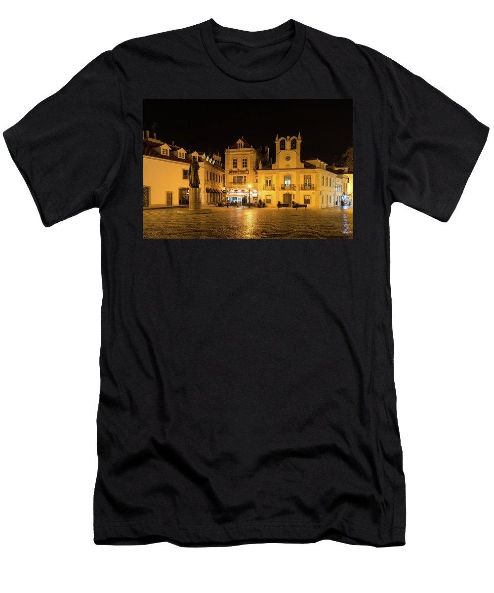 Georgia Mizuleva Men's T-Shirt (Athletic Fit) featuring the photograph A Portuguese Irish Pub - Cascais Portugal Night Magic by Georgia Mizuleva