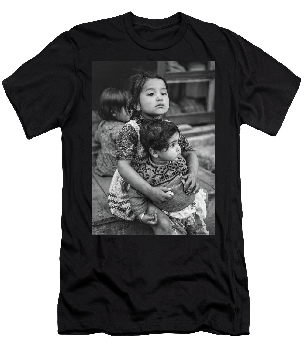 Kids Men's T-Shirt (Athletic Fit) featuring the photograph A Proud Sister Bw by Steve Harrington