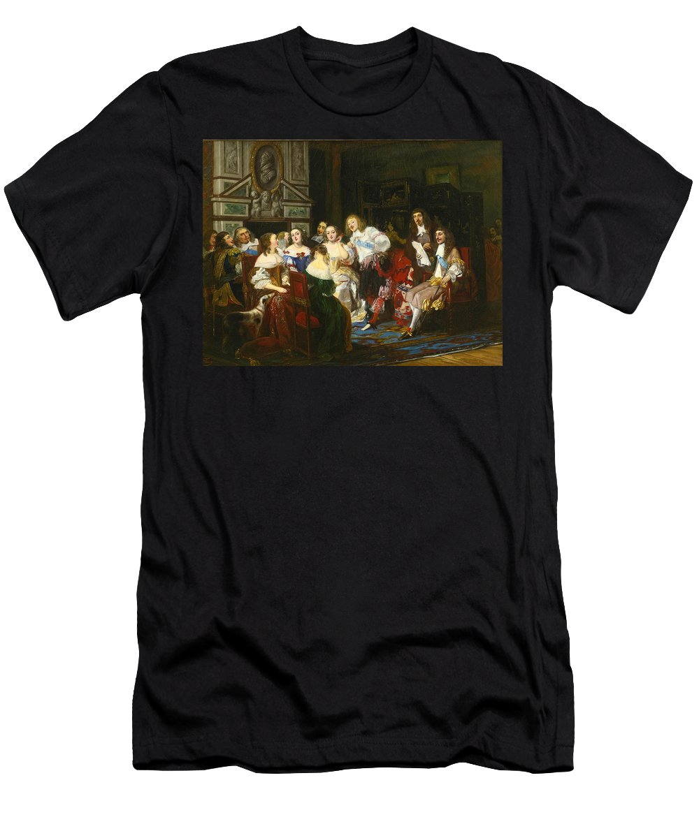 Joseph-nicolas Robert-fleury Men's T-Shirt (Athletic Fit) featuring the painting A Reading By Madame De Sevigne by Joseph-Nicolas Robert-Fleury