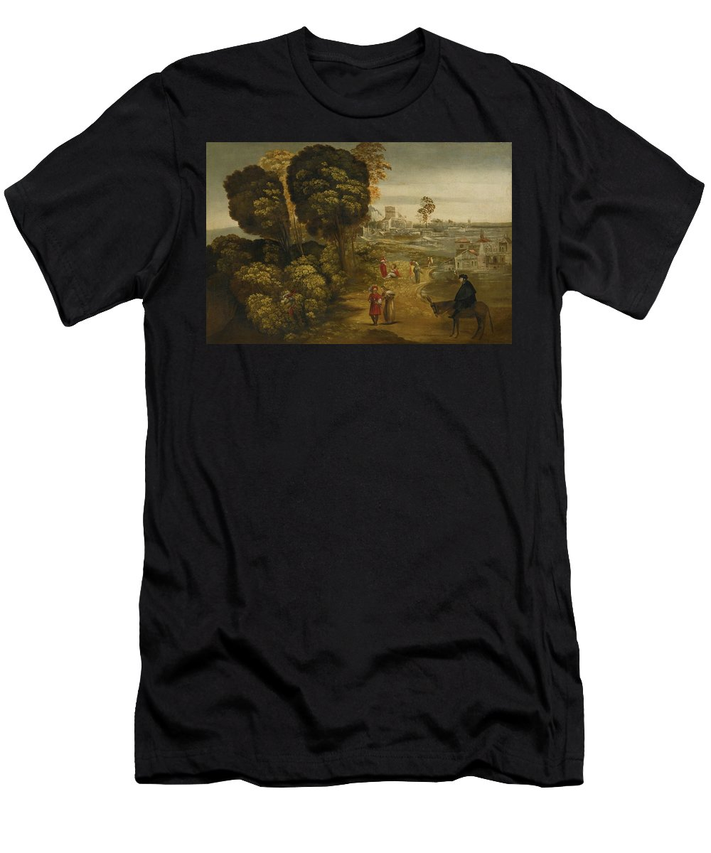 Giovanni Di Niccol� De Lutero Called Dosso Dossi A River Landscape With Figures On A Country Road Men's T-Shirt (Athletic Fit) featuring the painting A River Landscape With Figures On A Country Road by MotionAge Designs