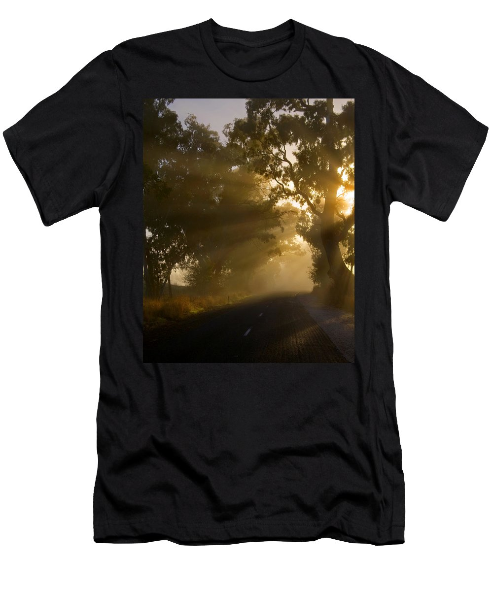 Highway Men's T-Shirt (Athletic Fit) featuring the photograph A Road Less Traveled by Mike Dawson