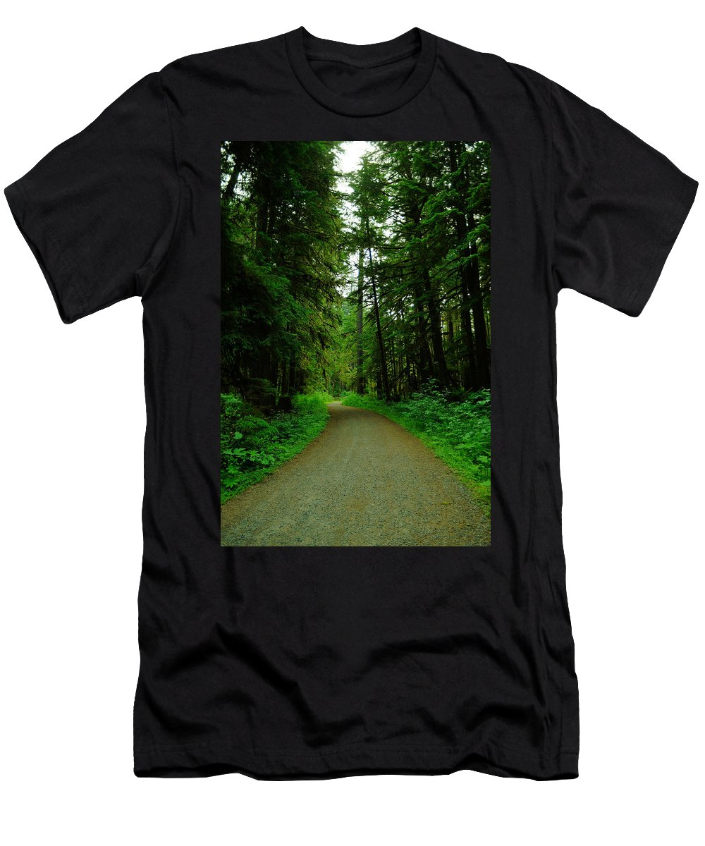 Trees Men's T-Shirt (Athletic Fit) featuring the photograph A Road Through The Forest by Jeff Swan
