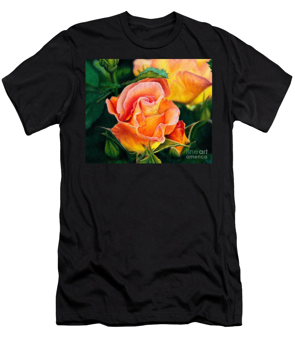 Coloured Pencil Men's T-Shirt (Athletic Fit) featuring the painting A Rose For Nan by Amanda Jensen