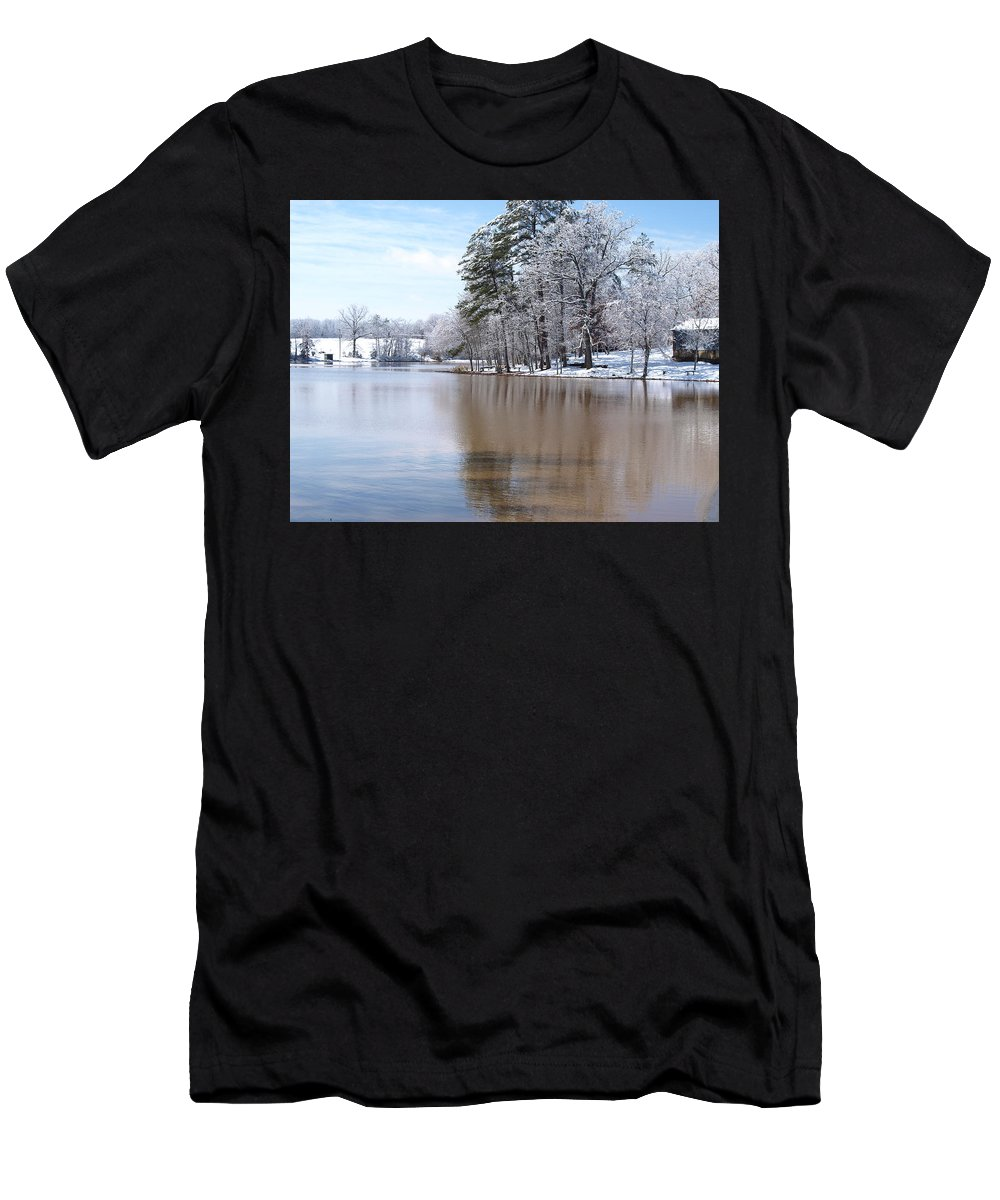 Winter Men's T-Shirt (Athletic Fit) featuring the photograph A Rural Lake by Timothy Markley