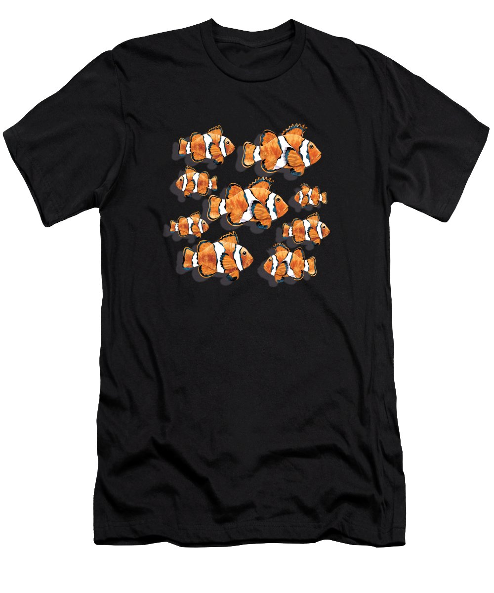 Clown Men's T-Shirt (Athletic Fit) featuring the digital art A School Of Clown Fish by Trevor Irvin