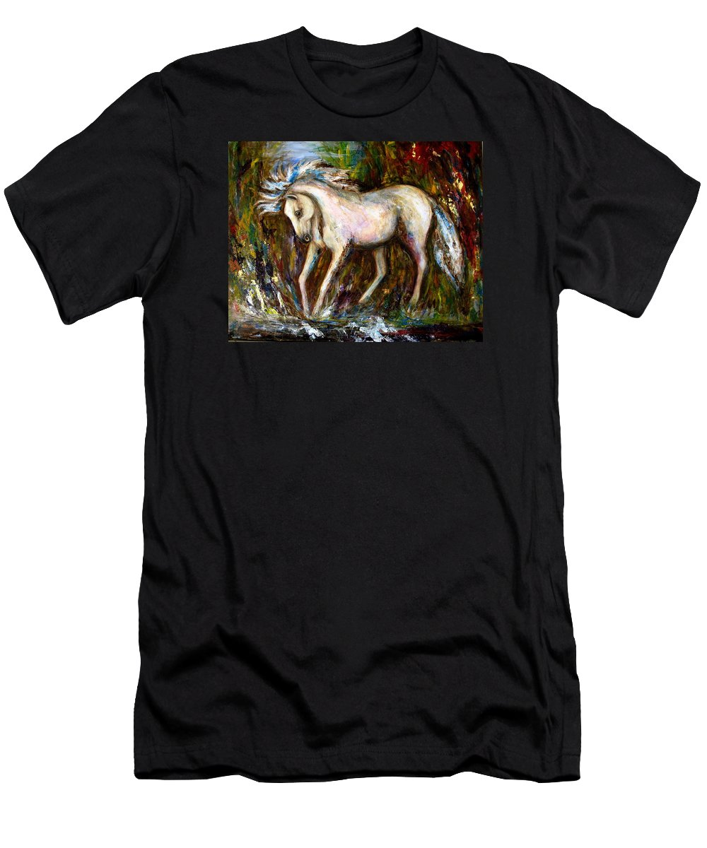 Horse Painting Men's T-Shirt (Athletic Fit) featuring the painting A Secret Place White Hores Painting by Frances Gillotti