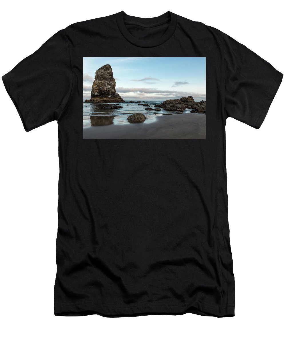 Morning Men's T-Shirt (Athletic Fit) featuring the photograph A Serene Morning At Cannon Beach by Belinda Greb
