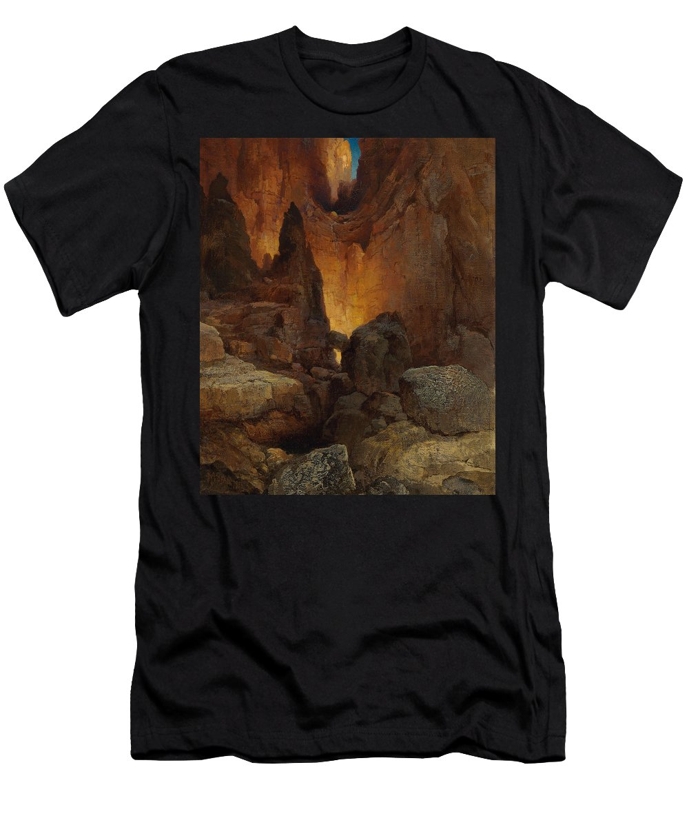 Moran Men's T-Shirt (Athletic Fit) featuring the painting A Side Canyon, Grand Canyon Of Arizona by Thomas Moran