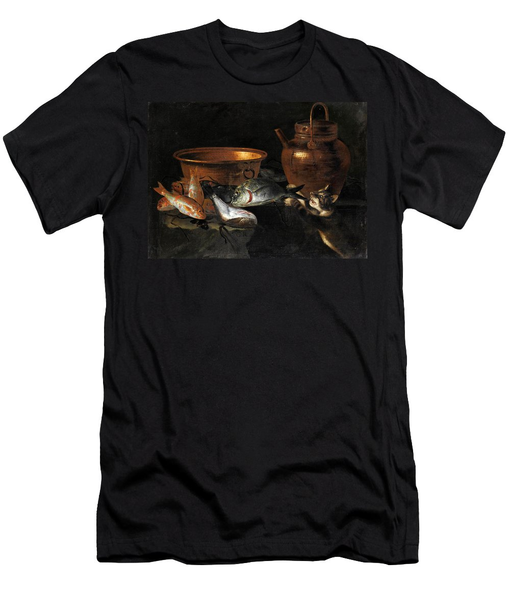 Giuseppe Recco Men's T-Shirt (Athletic Fit) featuring the painting A Still Life Of Fish With Copper Pans And A Cat by Giuseppe Recco