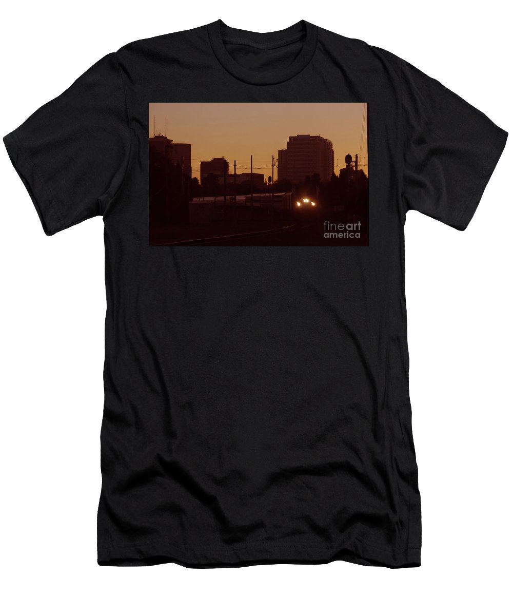Train Men's T-Shirt (Athletic Fit) featuring the photograph A Train A Com In by David Lee Thompson