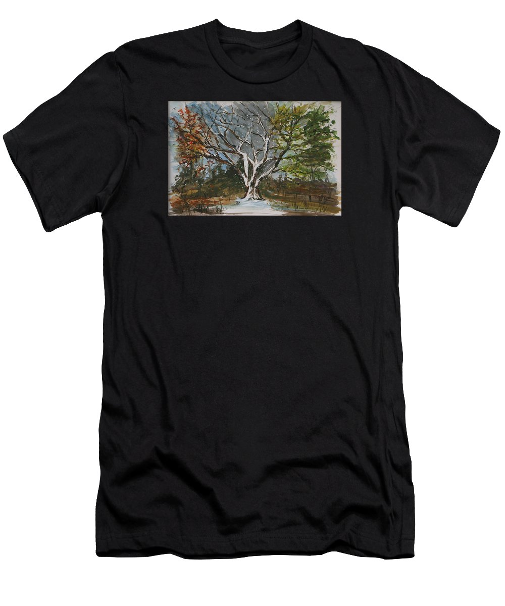 Original Men's T-Shirt (Athletic Fit) featuring the painting A Tree For All Seasons by Vivan Robinson