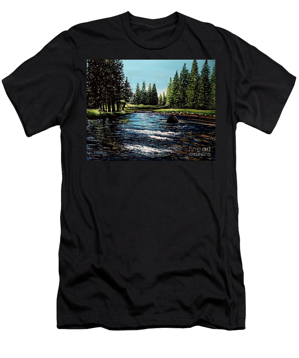 Landscape Men's T-Shirt (Athletic Fit) featuring the painting A Trip To The Mountains by Elizabeth Robinette Tyndall