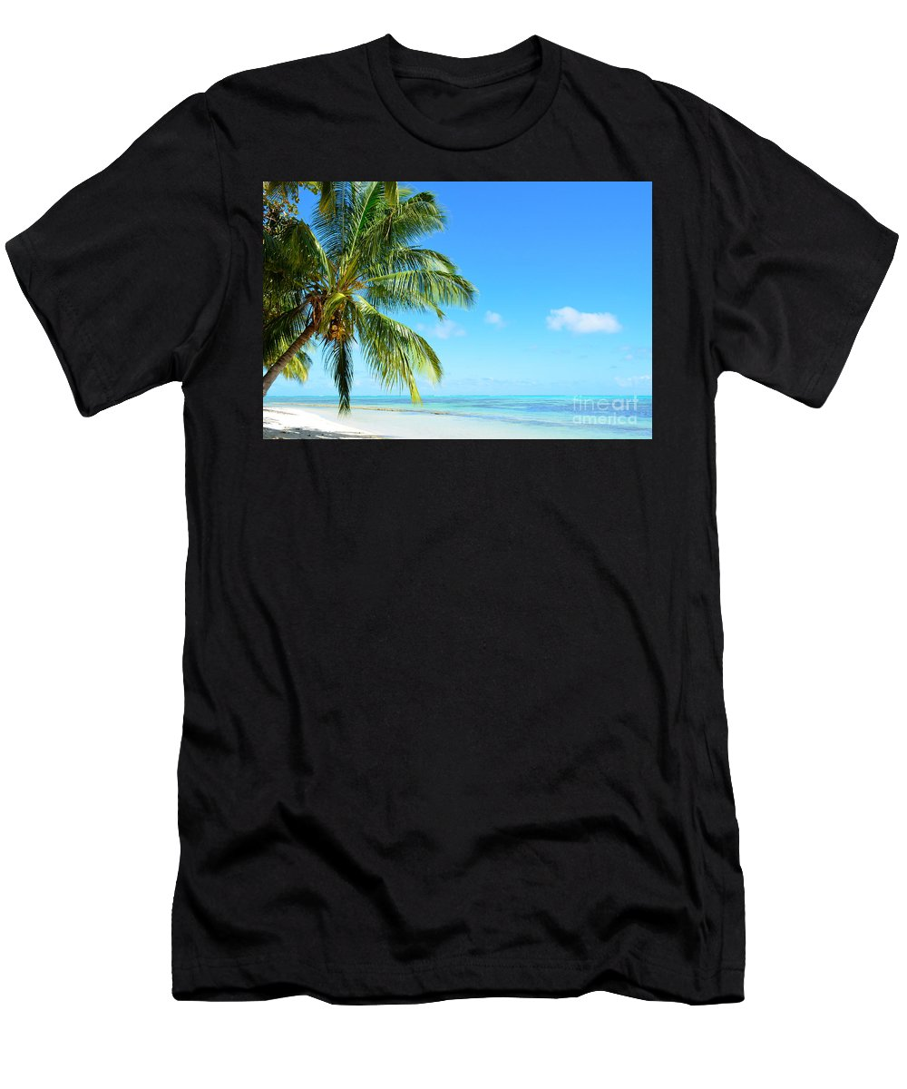 Beach Men's T-Shirt (Athletic Fit) featuring the photograph A Tropical Palm Tree Beach by IPics Photography