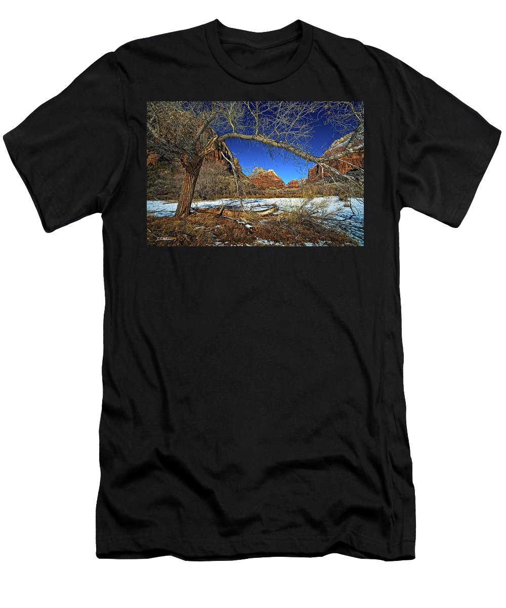 Zion Canyon Men's T-Shirt (Athletic Fit) featuring the photograph A View In Zion by Christopher Holmes