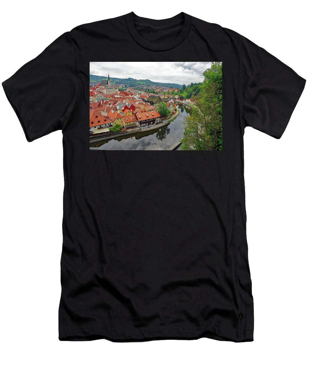 Cesky Krumlov Men's T-Shirt (Athletic Fit) featuring the photograph A View Of Cesky Krumlov And The Vltava River In The Czech Republic by Richard Rosenshein