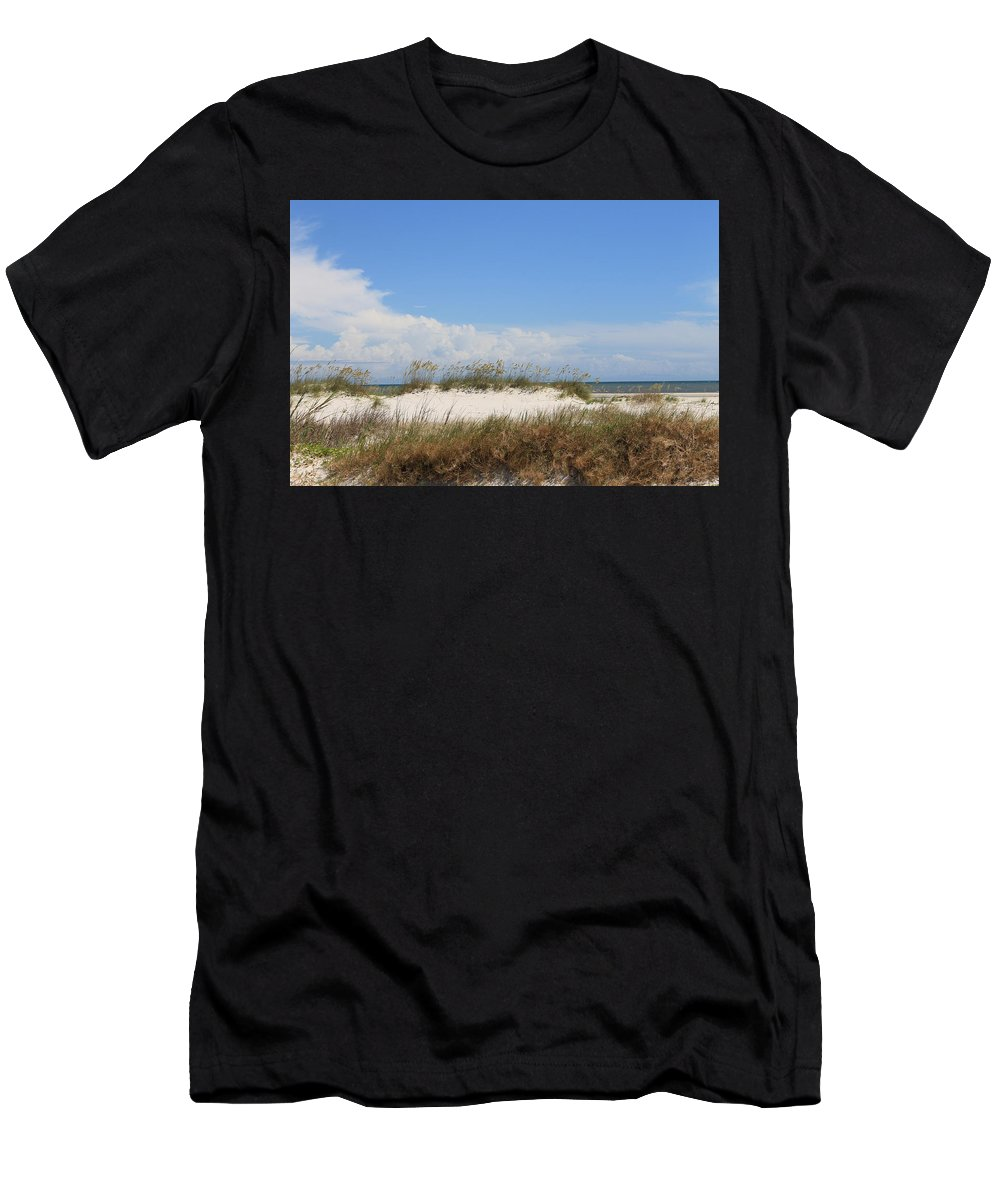 Beach Men's T-Shirt (Athletic Fit) featuring the photograph A View Of The Dunes by Laura Martin