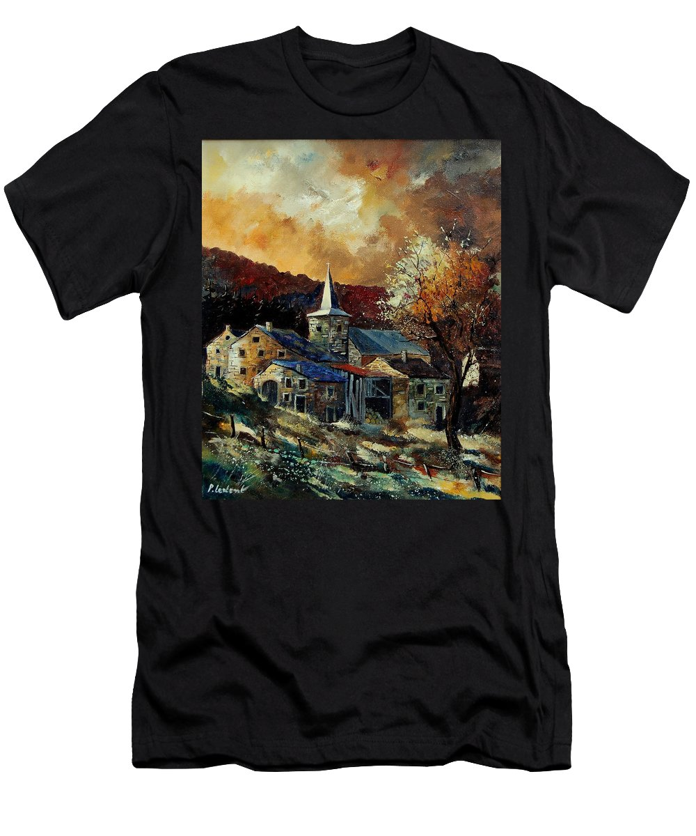 Tree Men's T-Shirt (Athletic Fit) featuring the painting A Village In Autumn by Pol Ledent