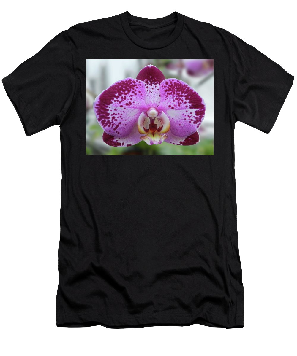 Orchid Men's T-Shirt (Athletic Fit) featuring the photograph A Violet Orchid by Nancy Aurand-Humpf