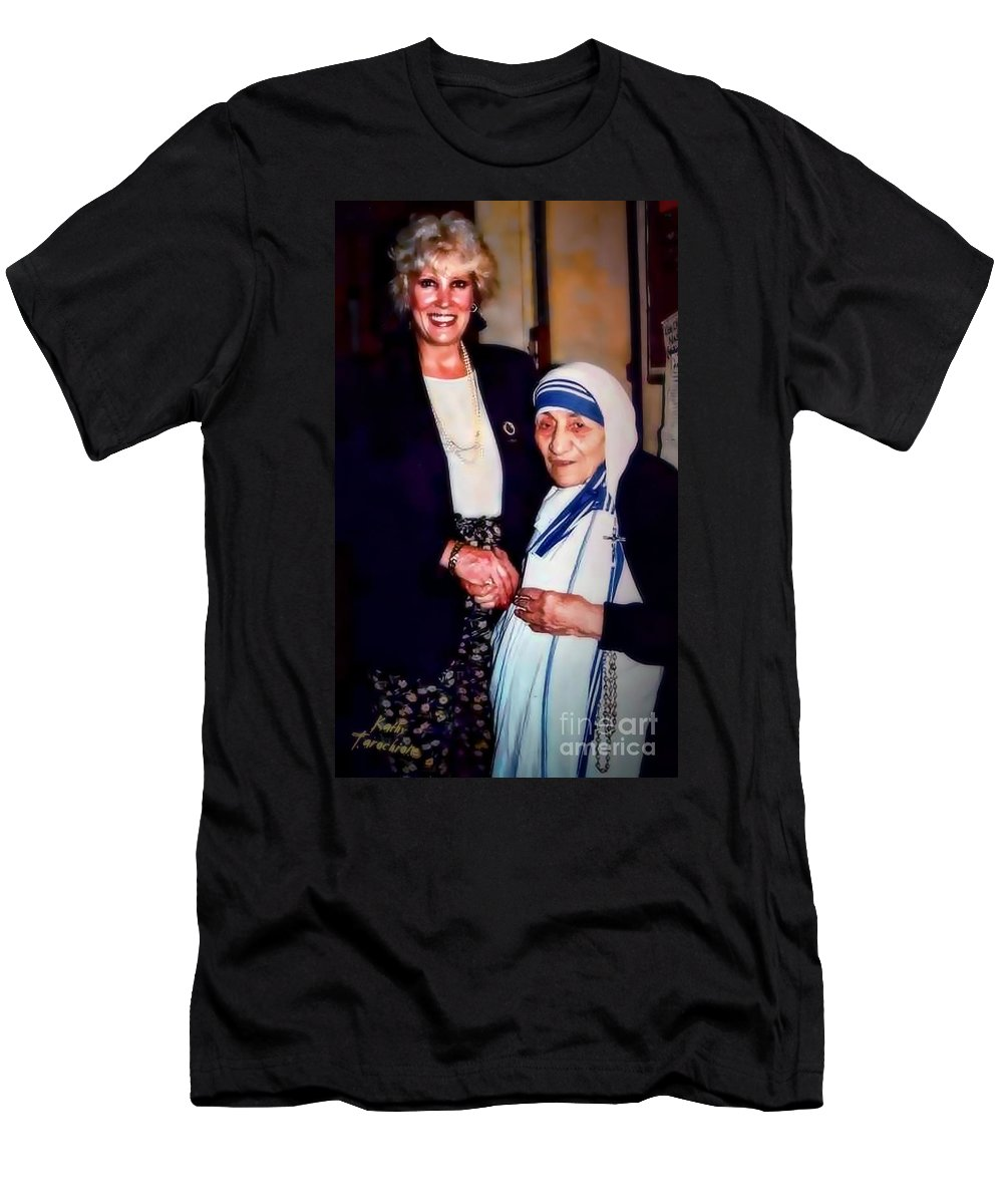 Mother Teresa Men's T-Shirt (Athletic Fit) featuring the digital art A Vist With Mother Teresa by Kathy Tarochione