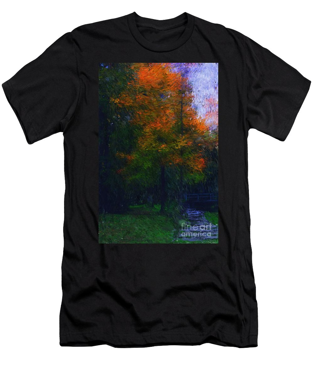Autumn Men's T-Shirt (Athletic Fit) featuring the photograph A Walk In The Park by David Lane