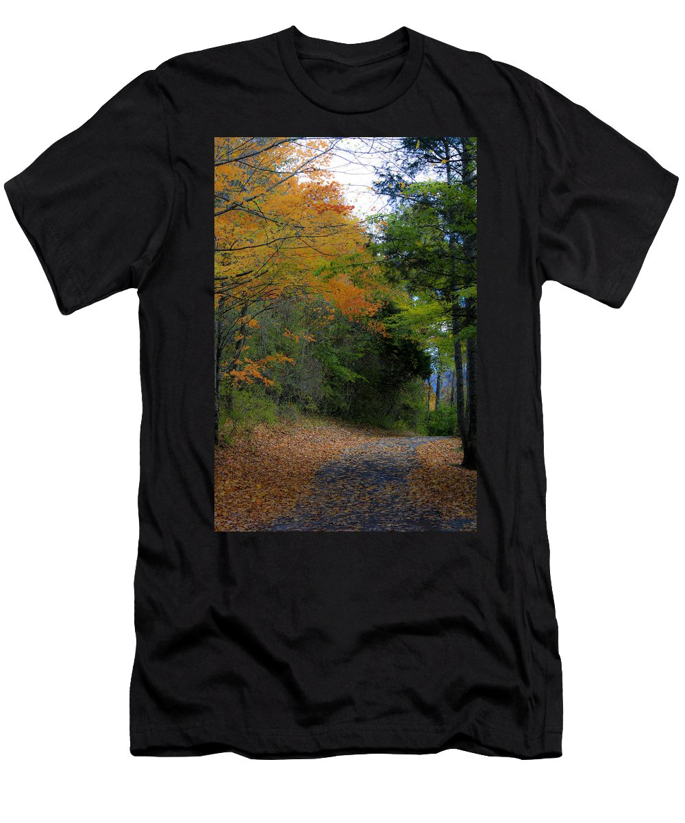 Walk Men's T-Shirt (Athletic Fit) featuring the photograph A Walk In The Woods by Teresa Mucha