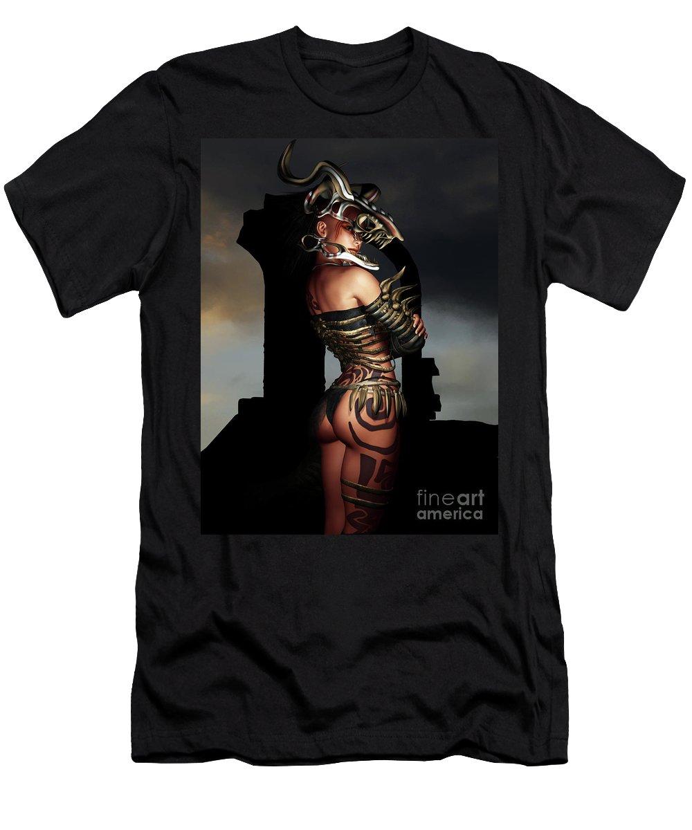 3d T-Shirt featuring the digital art A Warrior Stands Alone by Alexander Butler