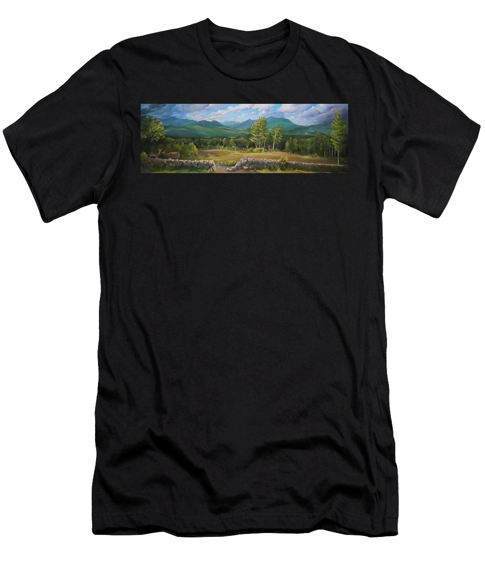 White Mountain Art Men's T-Shirt (Athletic Fit) featuring the painting A White Mountain View by Nancy Griswold
