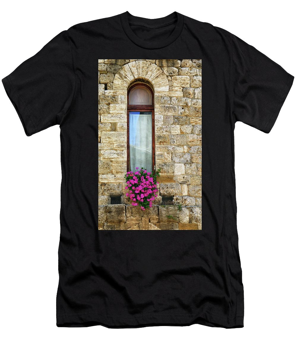 Florence Men's T-Shirt (Athletic Fit) featuring the photograph A Window In Florence by Dave Mills