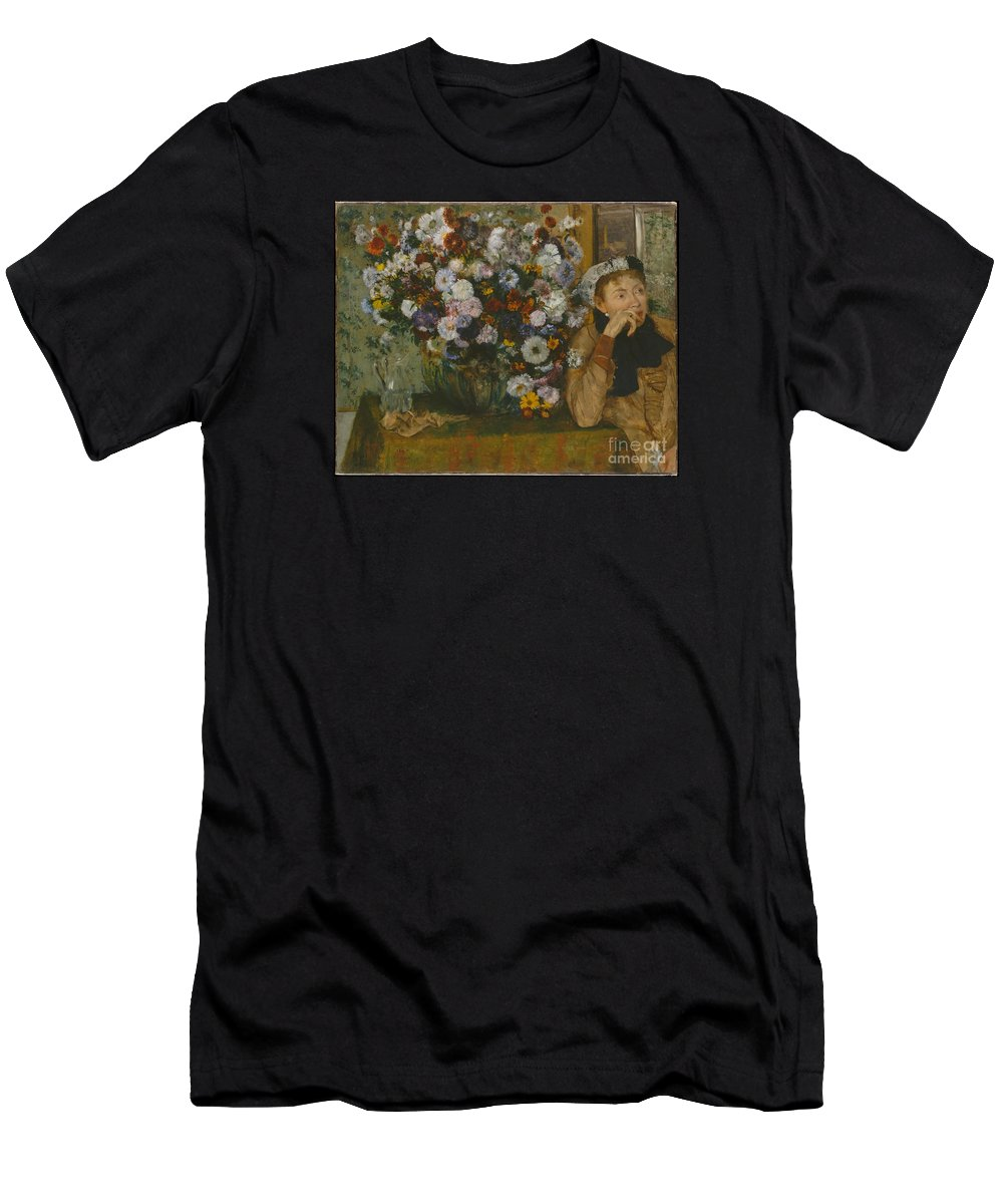 A Woman Seated Beside A Vase Of Flowers (madame Paul Valpin�on) Artist Edgar Degas (french Men's T-Shirt (Athletic Fit) featuring the painting A Woman Seated Beside A Vase Of Flowers by Celestial Images