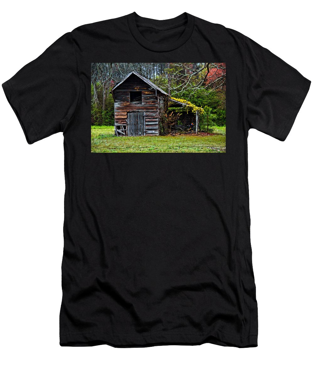 Barn Men's T-Shirt (Athletic Fit) featuring the photograph A Yellow Cover by Christopher Holmes