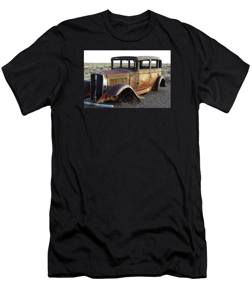 Arizona Men's T-Shirt (Athletic Fit) featuring the photograph Abandonded Along Rt 66 by Nelson Strong