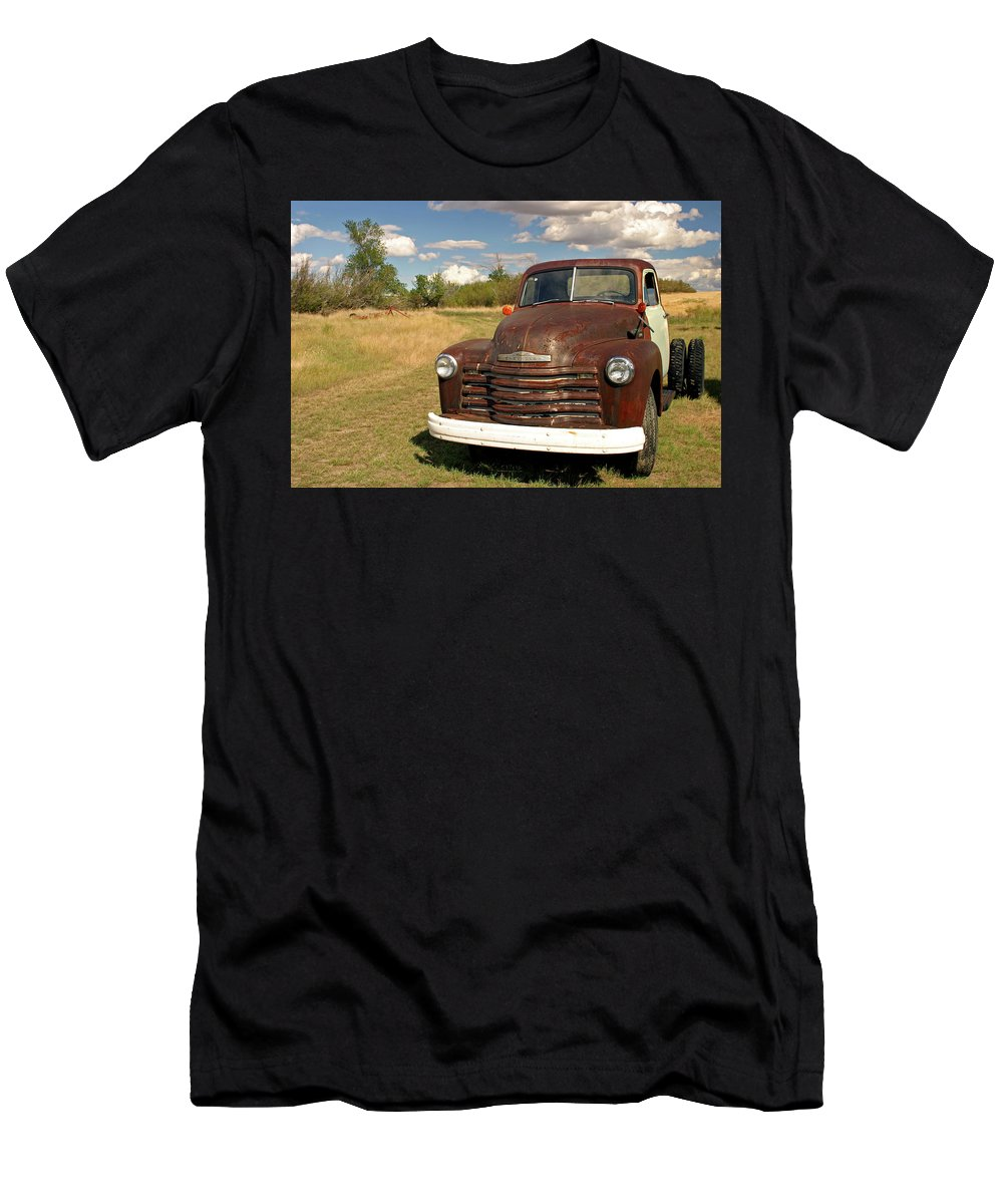 Chevy Men's T-Shirt (Athletic Fit) featuring the photograph Abandoned Chevy by Inge Riis McDonald
