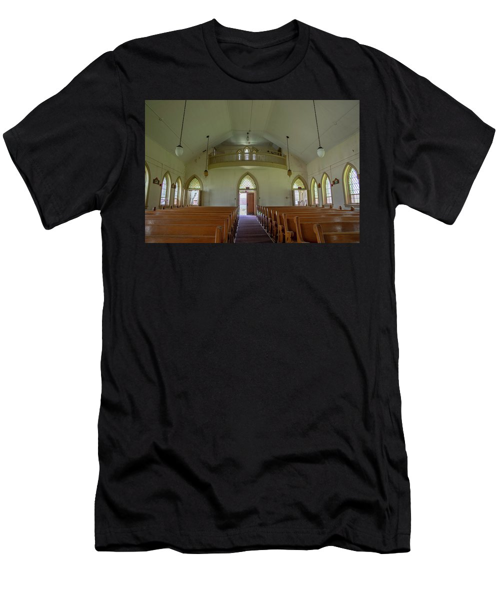 Abandoned Men's T-Shirt (Athletic Fit) featuring the photograph Abandoned Church In Prison Yard by Karen Foley