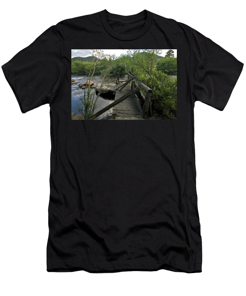 Abandon Men's T-Shirt (Athletic Fit) featuring the photograph Abandoned Dock by Brian Kenney