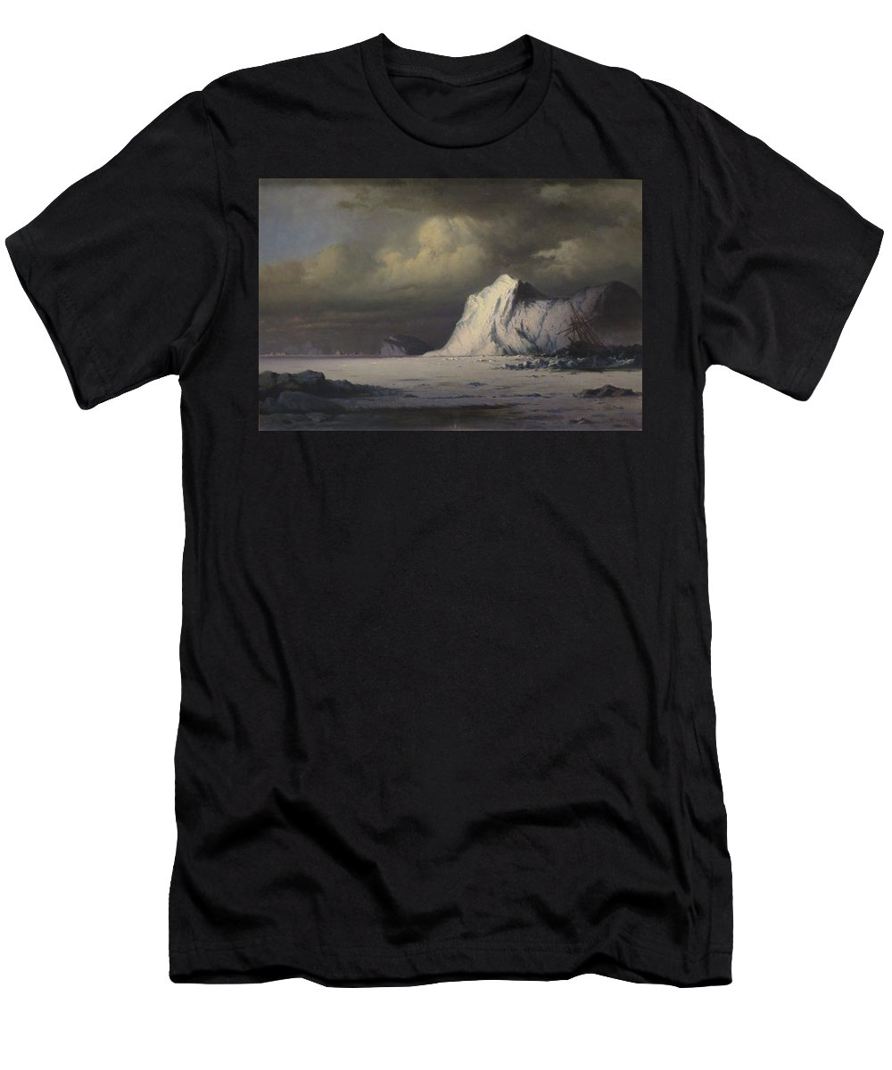 William Bradford - 'abandoned In The Arctic Ice Fields' Men's T-Shirt (Athletic Fit) featuring the painting Abandoned In The Arctic Ice Fields by William Bradford