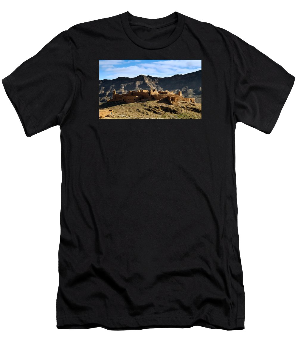 Draa Men's T-Shirt (Athletic Fit) featuring the photograph Abandoned Kasbah by Claudio Maioli