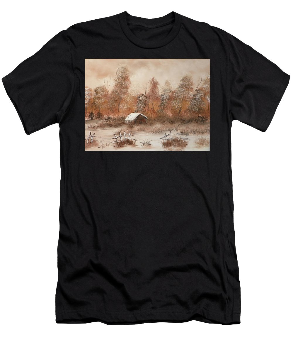 Trees Men's T-Shirt (Athletic Fit) featuring the painting Abandoned by Laurie Kidd