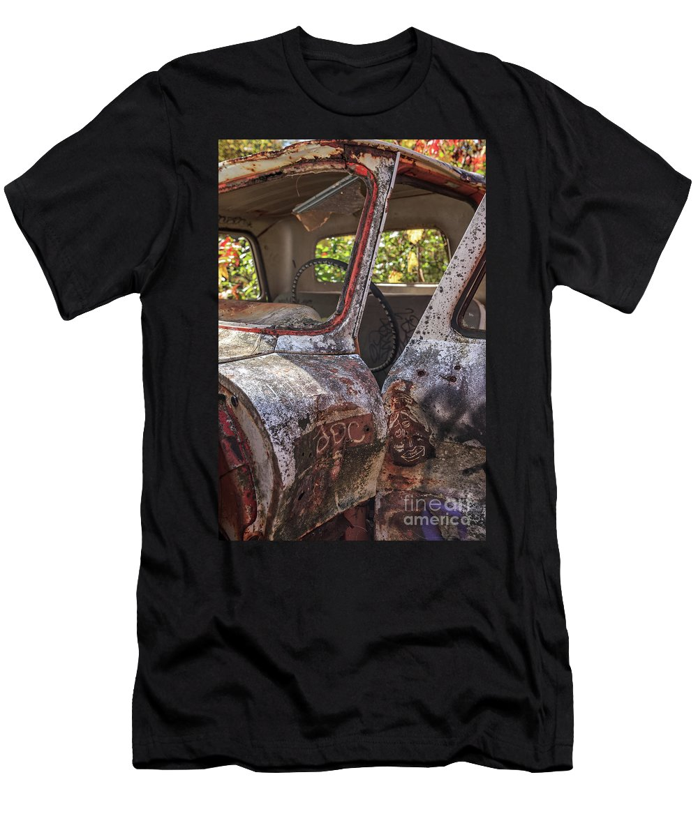 Truck Men's T-Shirt (Athletic Fit) featuring the photograph Abandoned Old Truck Newport New Hampshire by Edward Fielding