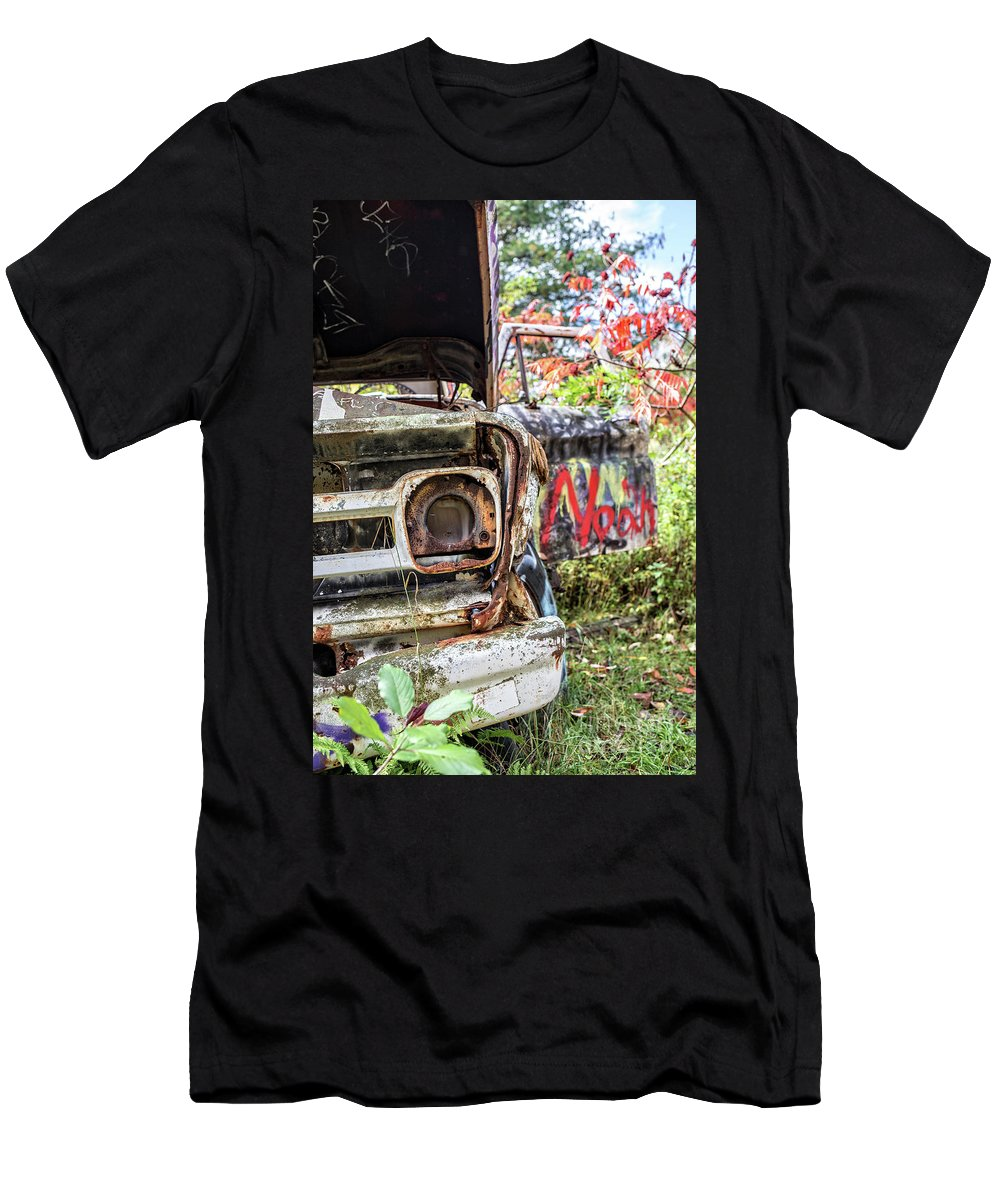 Car Men's T-Shirt (Athletic Fit) featuring the photograph Abandoned Truck With Spray Paint by Edward Fielding
