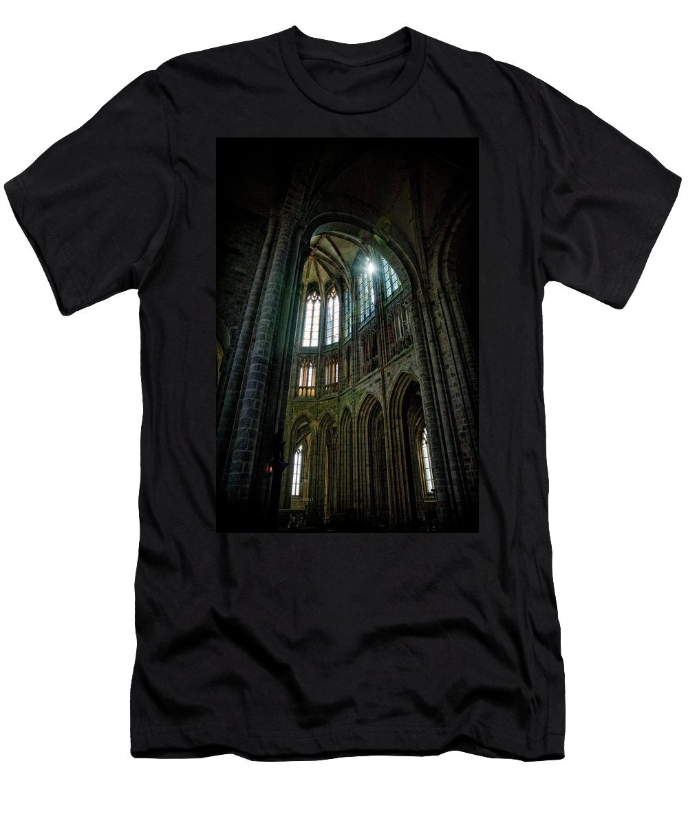 Abbey Mont St. Michel Men's T-Shirt (Athletic Fit) featuring the photograph Abbey With Heavenly Light by Linda Olsen