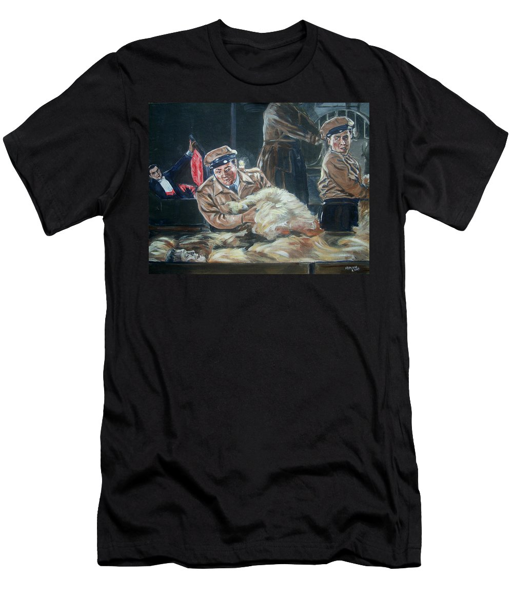 Comedy Men's T-Shirt (Athletic Fit) featuring the painting Abbott And Costello Meet Frankenstein by Bryan Bustard